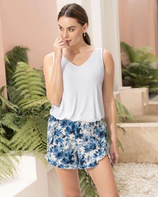 ruffled trim cotton sleep shorts--MainImage