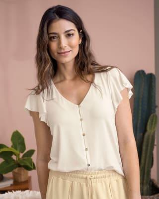 camiseta de pijama manga corta con boleros en hombros-018- Marfil-MainImage