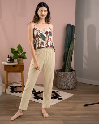 pantalon largo de pijama con tira ajustable y bolsillos laterales-805- Beige-MainImage