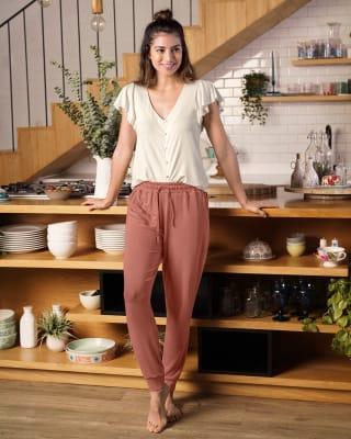 pantalon largo de pijama con bota ajustada-279- Coral-MainImage