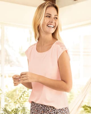 cap sleeve lace detail loose pajama shirt-180- Palo Rosa-MainImage