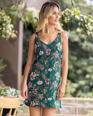 pijama tipo batola corta con cuello y espalda en forma de v-145- Estampado Verde-MainImage