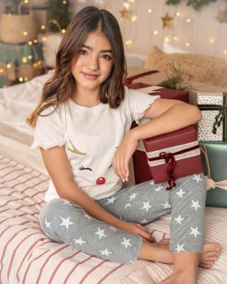 girls pajama set - short sleeve long pant combo-145- Estampado-MainImage