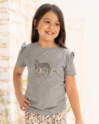 camiseta manga corta de pijama para nina con boleros en hombros-732- Gris Jaspe-MainImage