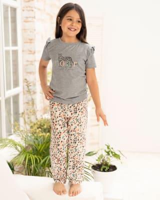 conjunto para nina camiseta manga corta con pantalon largo-998- Gris Jaspe / Estampado-MainImage