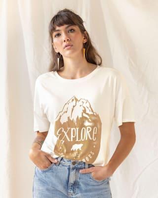 camiseta manga corta y caida con estampado silueta amplia-856- Marfil-MainImage