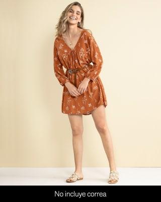 vestido corto manga larga cuello en v-030- Vino Estampado-MainImage