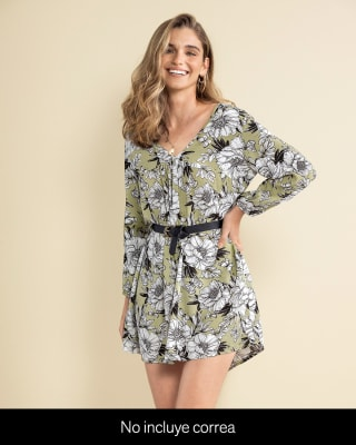 vestido corto manga larga cuello en v-060- Verde Estampado-MainImage