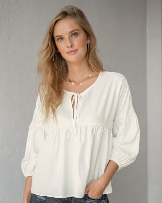 tie front  sleeve top with balloon sleeves-018- Marfil-MainImage