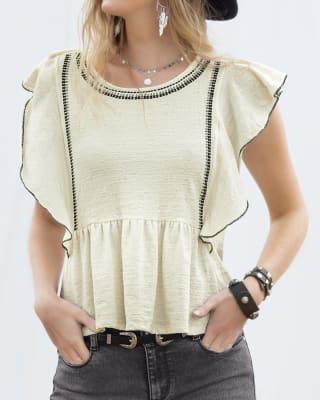 camiseta manga corta con boleros en manga y ruedo-018- Marfil-MainImage
