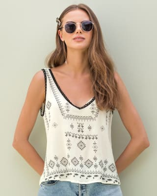 aztec-inspired graphic top with embroidered neckline-807- Ivory-MainImage