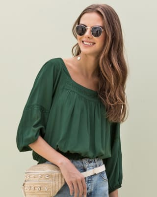 sleeve bohemian-inspired top with knitted accents-249- Verde-MainImage
