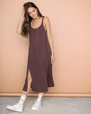 vestido tiritas silueta amplia con abertura en laterales-240- Vino-MainImage
