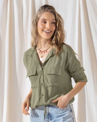 utility-inspired military green button down-255- Verde-MainImage