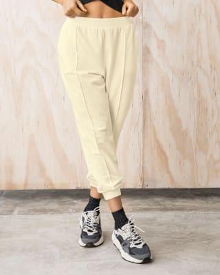 pantalon jogger elastico en cintura y tejido acanalado en bota-849- Beige-MainImage