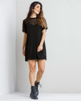 vestido corto corto manga corta con transparencia y vestido interno fijo-700- Black-MainImage