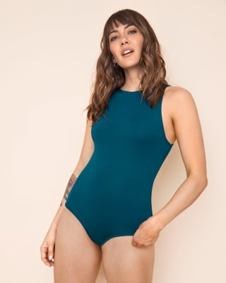 strapless semi-fitted bodysuit-249- Verde Oscuro-MainImage