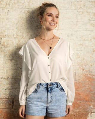 blusa manga larga con bolero en mangas y cuello en v--MainImage