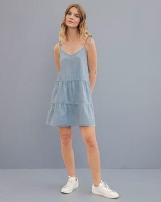 vestido corto tiritas cuello v con cargaderas anudables en hombro-141- Indigo-MainImage