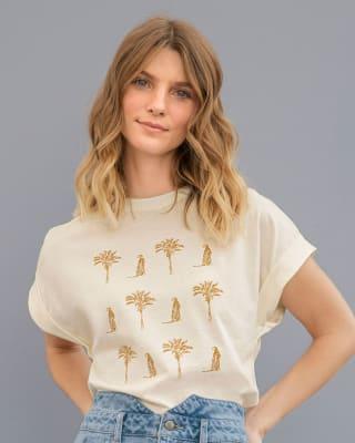 camiseta manga corta para mujer estampado localizado-018- Marfil-MainImage