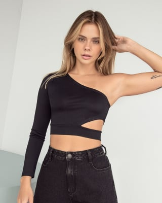 one-shoulder crop top with side slit - fitted silhouette-700- Negro-MainImage