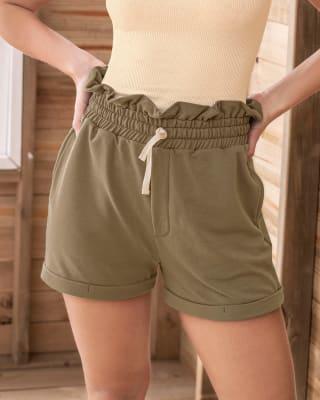 short silueta mom tiro alto con cordon ajustable en cintura-601- Verde-MainImage