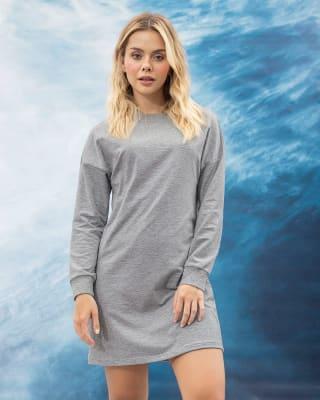 vestido corto manga larga de silueta amplia con elastico en punos--MainImage