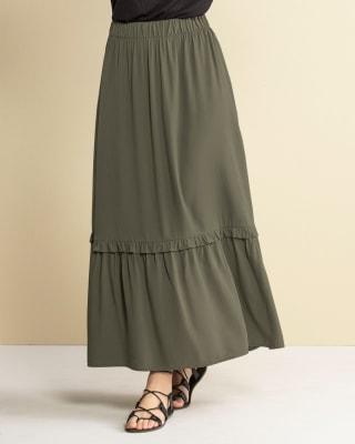 falda larga de silueta amplia con cintura con elastico-068- Verde-MainImage