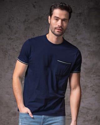 camiseta manga corta con bolsillo con ribete tejido-024- Azul Oscuro-MainImage