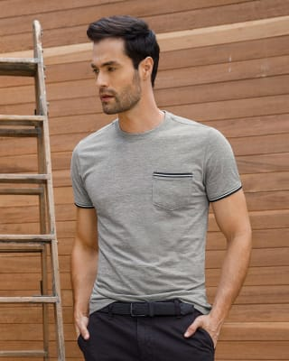 camiseta manga corta con bolsillo con ribete tejido-717- Gris Jaspe-MainImage