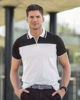 camiseta tipo polo con punos y cuello tejidos y cremallera en el pecho-097- Multicolor-MainImage