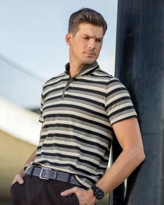 camiseta henley tejido de punto cuello y perilla en contraste-090- Black Stripes-MainImage