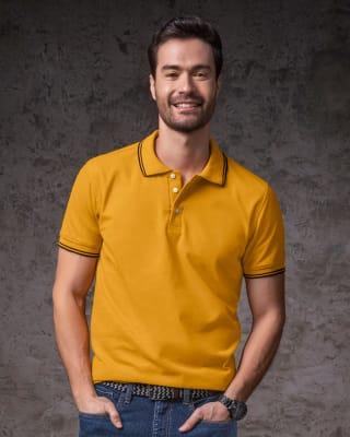 camiseta tipo polo cuello y mangas tejidas-128- Mostaza-MainImage