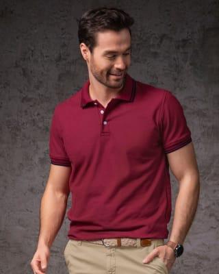 camiseta tipo polo cuello y mangas tejidas-194- Vino-MainImage