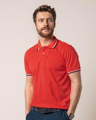 camiseta semiajustada con botones en cuello-279- Coral-ImagenPrincipal