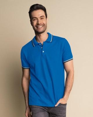 camiseta tipo polo con tejido en cuello y mangas-057- Fdo. Azul-MainImage