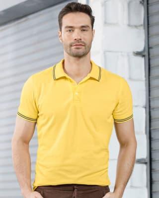 camiseta tipo polo con tejido en cuello y mangas-111- Amarillo Claro-MainImage