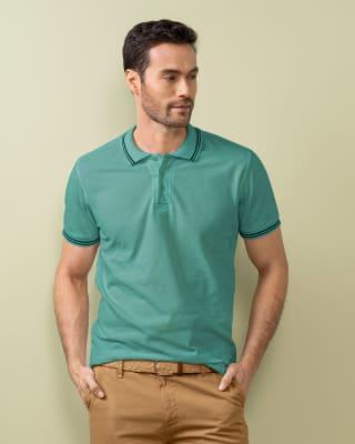 camiseta tipo polo con tejido en cuello y mangas-198- Verde Medio-MainImage