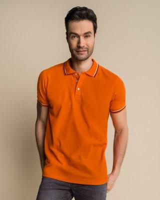 camiseta tipo polo con tejido en cuello y mangas-203- Naranja-MainImage
