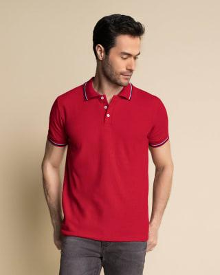 camiseta tipo polo con tejido en cuello y mangas-309- Rojo Oscuro-MainImage