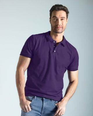 camiseta tipo polo con tejido en cuello y mangas-409- Uva-MainImage