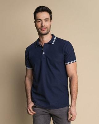 camiseta tipo polo con tejido en cuello y mangas-457- Azul Oscuro-MainImage