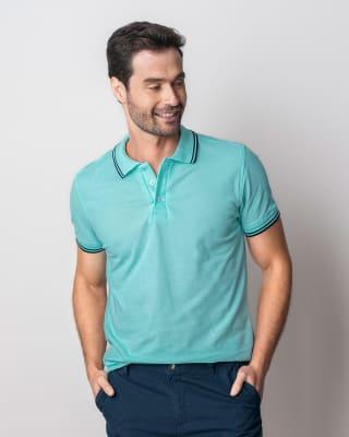 camiseta tipo polo con tejido en cuello y mangas-920- Verde Azul-MainImage