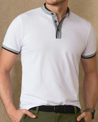 camiseta henley con contraste de color en mangas y cuello-000- Blanco-MainImage