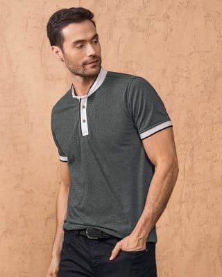 camiseta cuello henley con contraste de color en mangas y cuello-755- Gris Jaspe Oscuro-MainImage