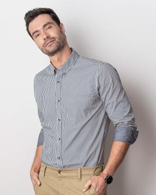 camisa manga larga para hombre silueta slim semiajustada-903- Raya Azul Oscuro-MainImage