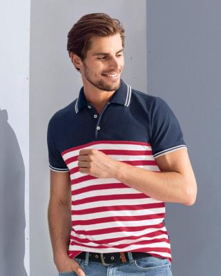 camiseta tipo polo con estampado a rayas-509- Multicolor-MainImage