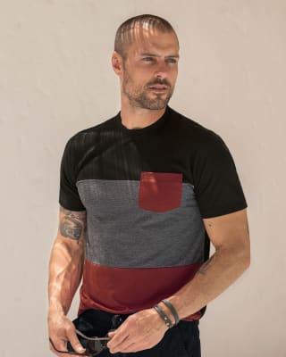 camiseta manga corta con bloques de color bolsillo en contraste-700- Black-ImagenPrincipal