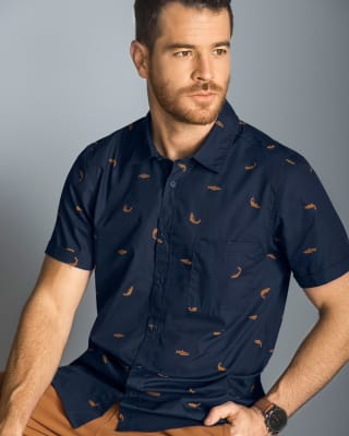 camisa manga corta para hombre con estampado continuo-024- Azul Oscuro-MainImage