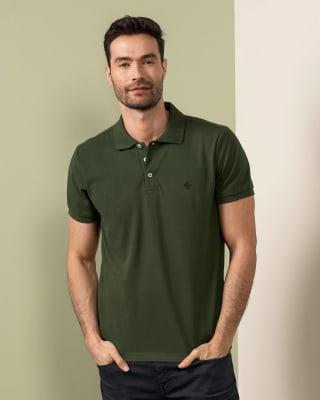 camiseta tipo polo con estampado en el frente en poliester y algodon-249- Verde-MainImage